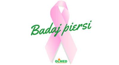 różowa wstążka z zielonym napisem Badaj piersi i logotypem OLMED