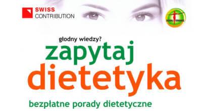 plakat z napisem Zapytaj dietetyka bezpłatne porady dietetyczne