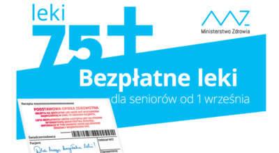 biało niebieski plakat leki 75+ bezpłatne leki