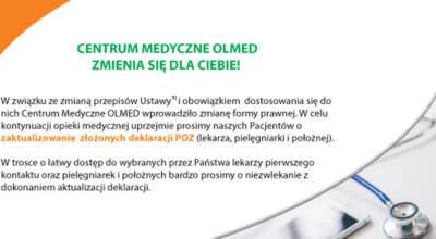 plakat z napisem Centrum medyczne OLMED zmienia się dla Ciebie!