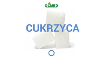 trzy kostki cukru z napisem Cukrzyca i logotypem OLMED