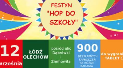 kolorowy plakat z napisem Festyn Hop do szkoły
