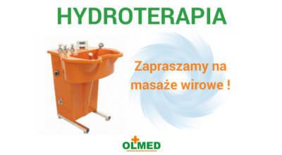 plakat z napisem Hydroterapia z logotypem OLMED