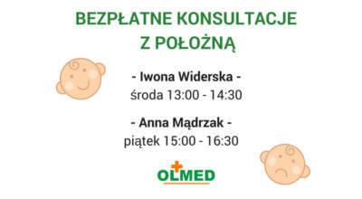 plakat z zaproszeniem na Bezpłatne konsultacje z położną z logotypem OLMED