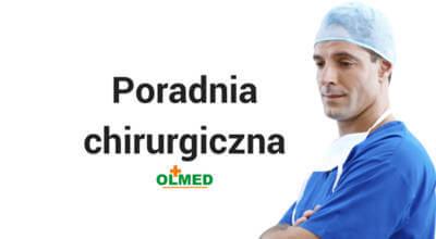 zdjęcie lekarza w niebieskim kitlu z napisem Poradnia chirurgiczna z logotypem OLMED